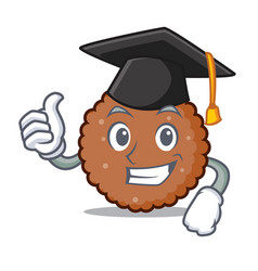 Graduation chocolate biscuit character cartoon vector