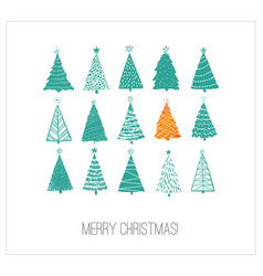 greeting card with green and orange christmas vector image