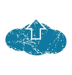 Grunge cloud upload icon vector image