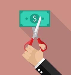 Hand cutting money bill vector