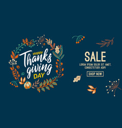 hand drawn happy thanksgiving typography in autumn vector image