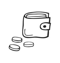 hand drawn icon cap of wallet vector image