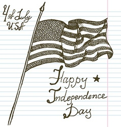 Hand drawn sketch American flag USA Independence vector