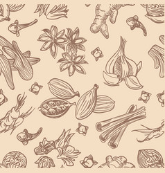 Hand drawn spices seamless pattern vector