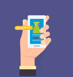 Hand hold phone online store on the smartphone vector