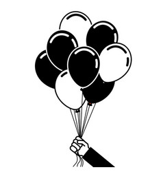 Hand holds bunch of brightly helium balloons vector