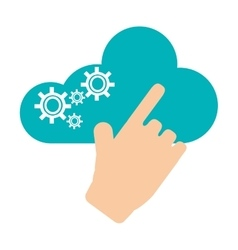 Hand pointing to cloud with gears icon vector