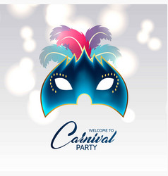 happy brazilian carnival day blue carnival mask vector image