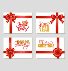 happy new year and merry christmas gift cards set vector image