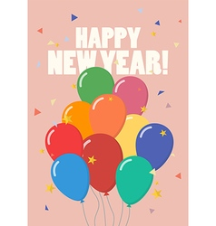 Happy new year with colorful balloons vector