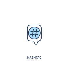 Hashtag concept 2 colored icon simple line vector