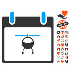 Helicopter calendar day icon with dating bonus vector