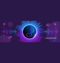 Horizontal music banner bright purple futuristic vector