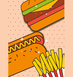 hot dog sandwich and french fries menu restaurant vector image