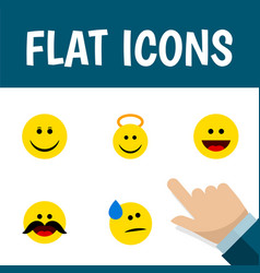 icon flat face set of cold sweat cheerful grin vector image