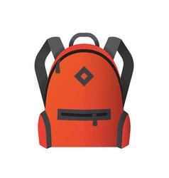 icon of bright orange school bag backpack vector image