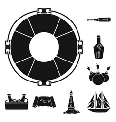 Isolated object journey and seafaring sign vector