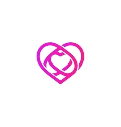 Isolated pink abstract monoline heart logo Love vector image