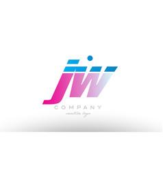 Jw j w alphabet letter combination pink blue bold vector