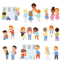 Kids bullying the weaks set bad behavior vector