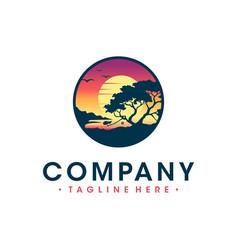 logo design beach views from cliffs vector image