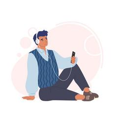 Man in headphones listening to audio program vector