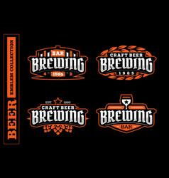 Modern professional label set for a craft beer vector