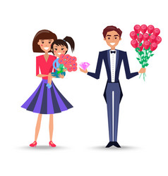 Mother holds daughter and father with bouquet vector