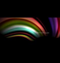 Multicolored wave lines on black background design vector