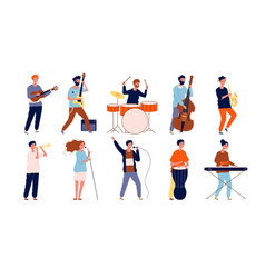musicians characters creative performing peoples vector image
