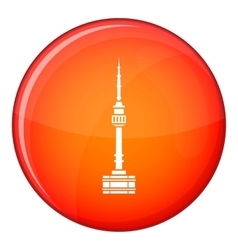 Namsan tower in Seoul icon flat style vector