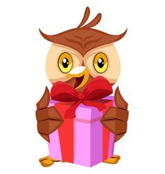 owl holding gift on white background vector image