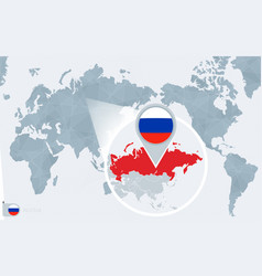 Pacific centered world map with magnified russia vector