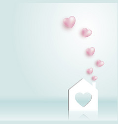 paper home with heart vector image