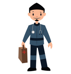 Paramedic in blue uniform character on a white vector