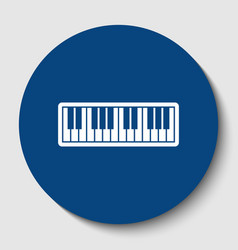 Piano keyboard sign white contour icon in vector