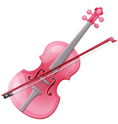 pink violin and bow isolated on a white vector image