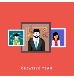 Portraits of creative team people vector image