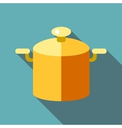 Pot with lid icon flat style vector image