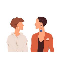 Profile portrait lesbian love couple two vector