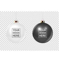 realistic 3d christmas glossy glass ball vector image
