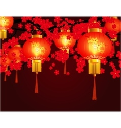 Red Chinese lanterns hung in the park Round shape vector image