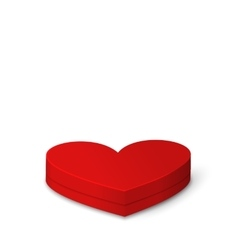 Red Gift Box in Heart Shaped for Valentines Day vector image