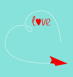 Red origami paper plane big dash heart in the sky vector