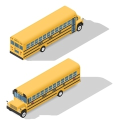 School bus detailed isometric icons set frond vector