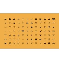 Set of black emoticon vector image