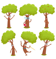 Set of funny comic tree characters showing various vector