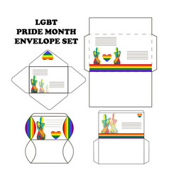 set of postal envelopes for the pride month with vector image