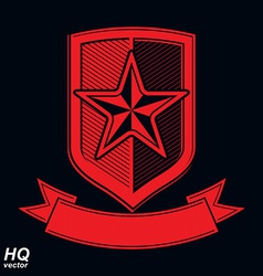 shield with a red pentagonal Soviet star vector image