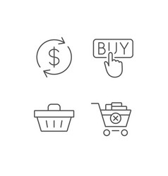 Shopping cart buy button and sale icons vector